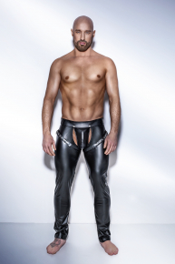 Noir Powerwetlook Lange Hose im Harness Style