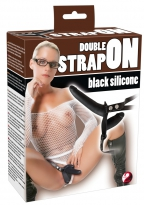 Double Strap-On Black Silicone