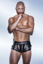 Noir Powerwetlook Shorts im Harness Style
